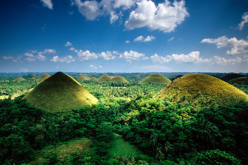 Panoramic view of the Chocolate Hills from Bohol in the Philippines