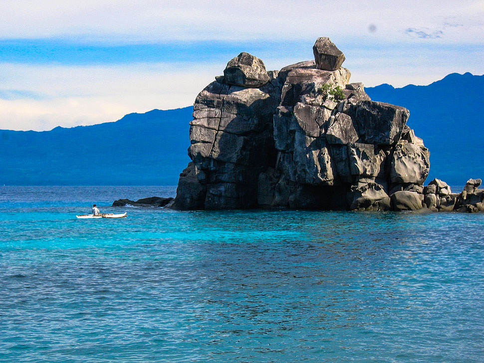 The famous 'Boluarte' rock formation at Apo Island