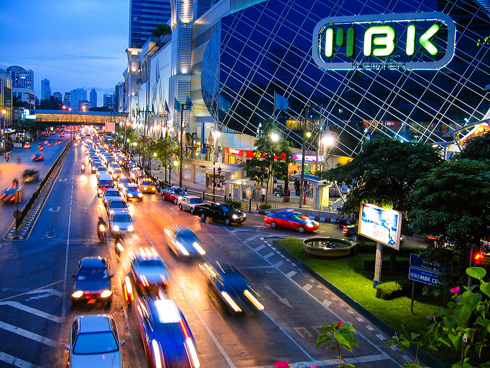 Bangkok's Busy City Streets at Night