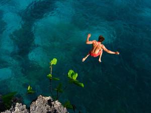 Cliff jumping at a Siquijor Island Beach