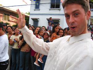 Sporting a Barong for the Dumaguete Santacruzan Parade