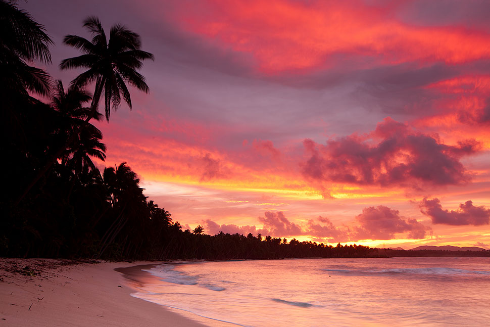 Beautiful Beach Sunset from Siargao Island