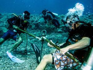 Anchoring a Mooring Buoy to the Tubbataha Seafloor