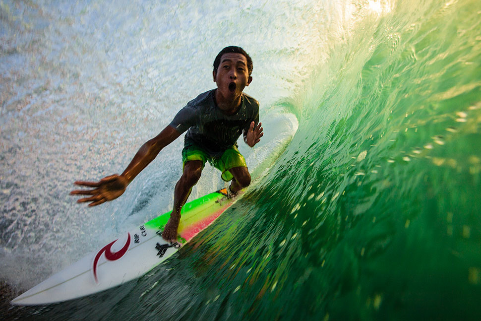 Surfing one of Bali's Legendary 'Green Room'