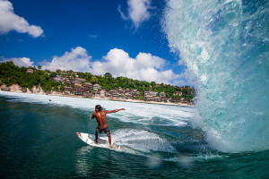 Perfect waves at one of Bali's Beautiful Beaches