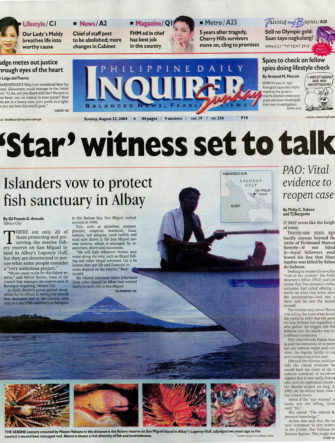 Albay Marine Sanctuary Feature | Philippine Daily Inquirer Cover Photos | August 2004