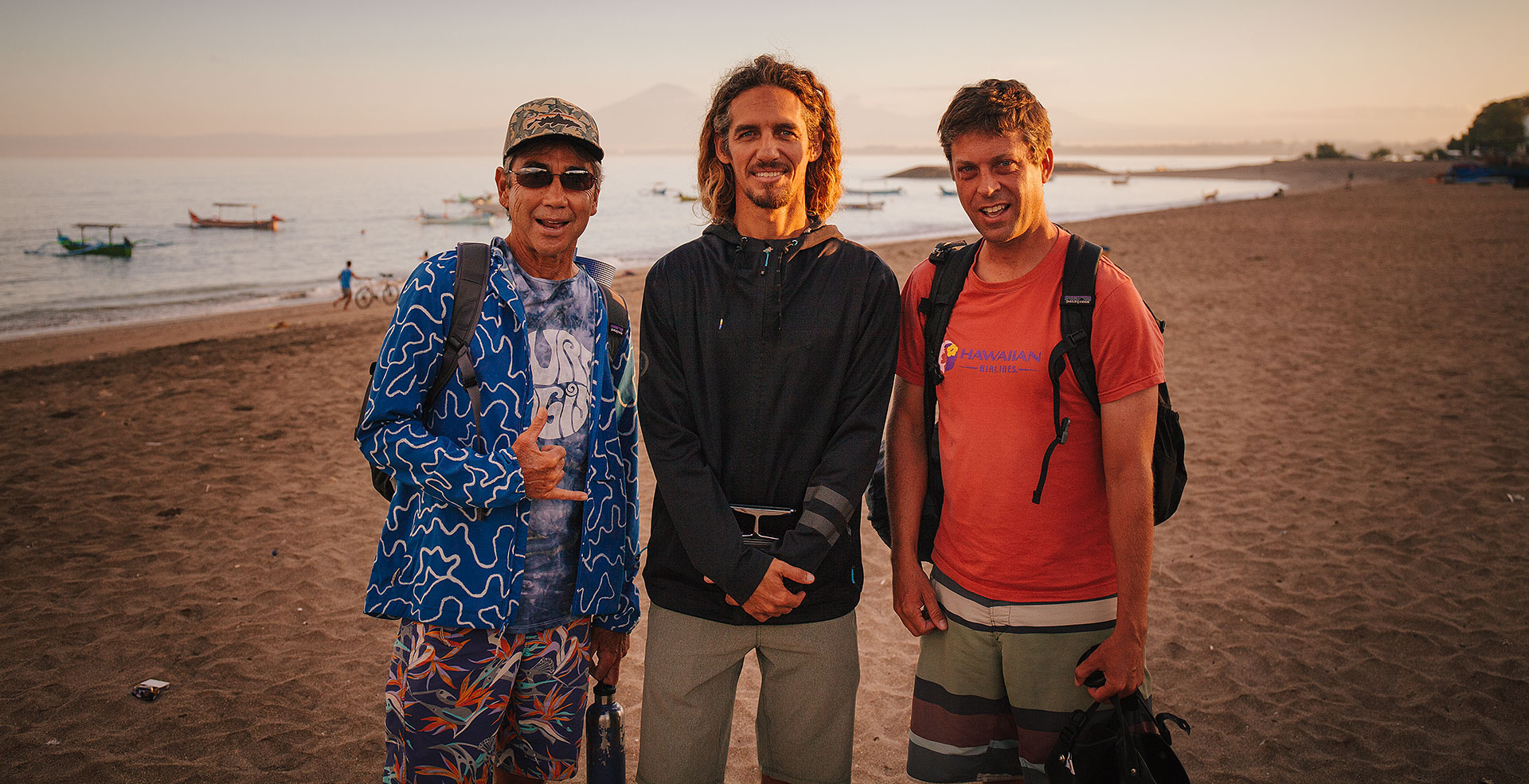 On assignment with Gerry Lopez and Rob Machado in Indonesia / Photo by Tim Russo