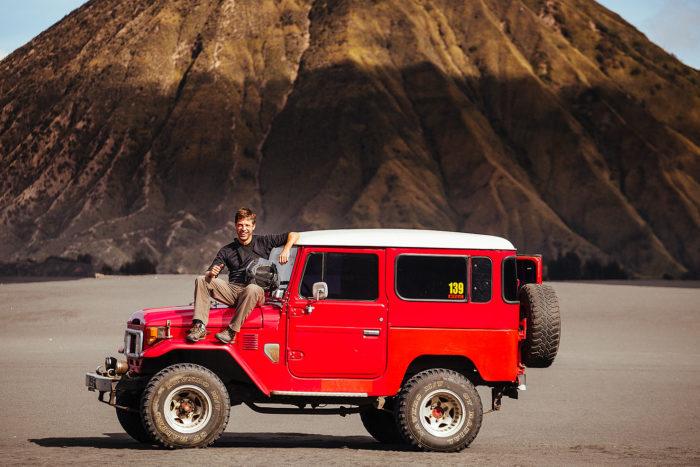 Vintage Land Cruiser at Mount Bromo, Java