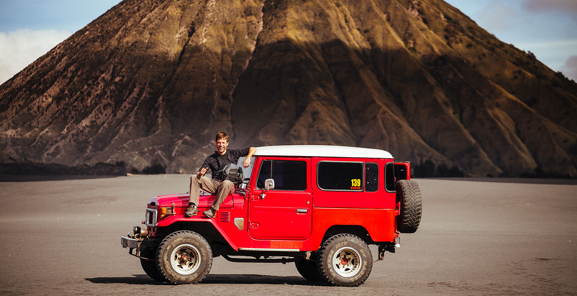 Vintage Land Cruiser at Mount Bromo, Java