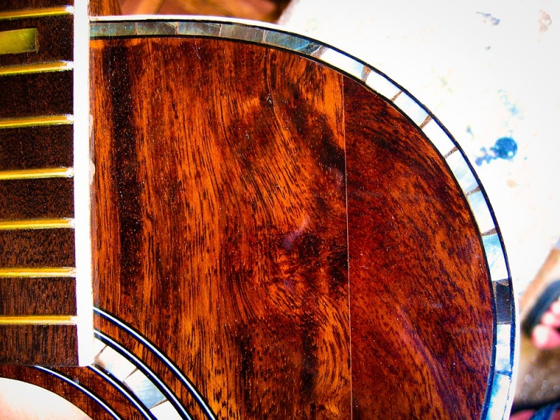 Black Pearl Inlay on a Taylor W65 Acoustic Guitar Replica