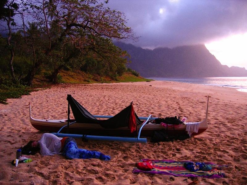 Sea Kayak Lean-To on the Beach
