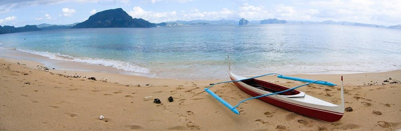 Landing on the Deserted Island Beach