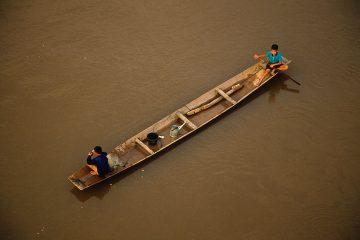 Mekong River Village Life near Meung Ngoy in Laos