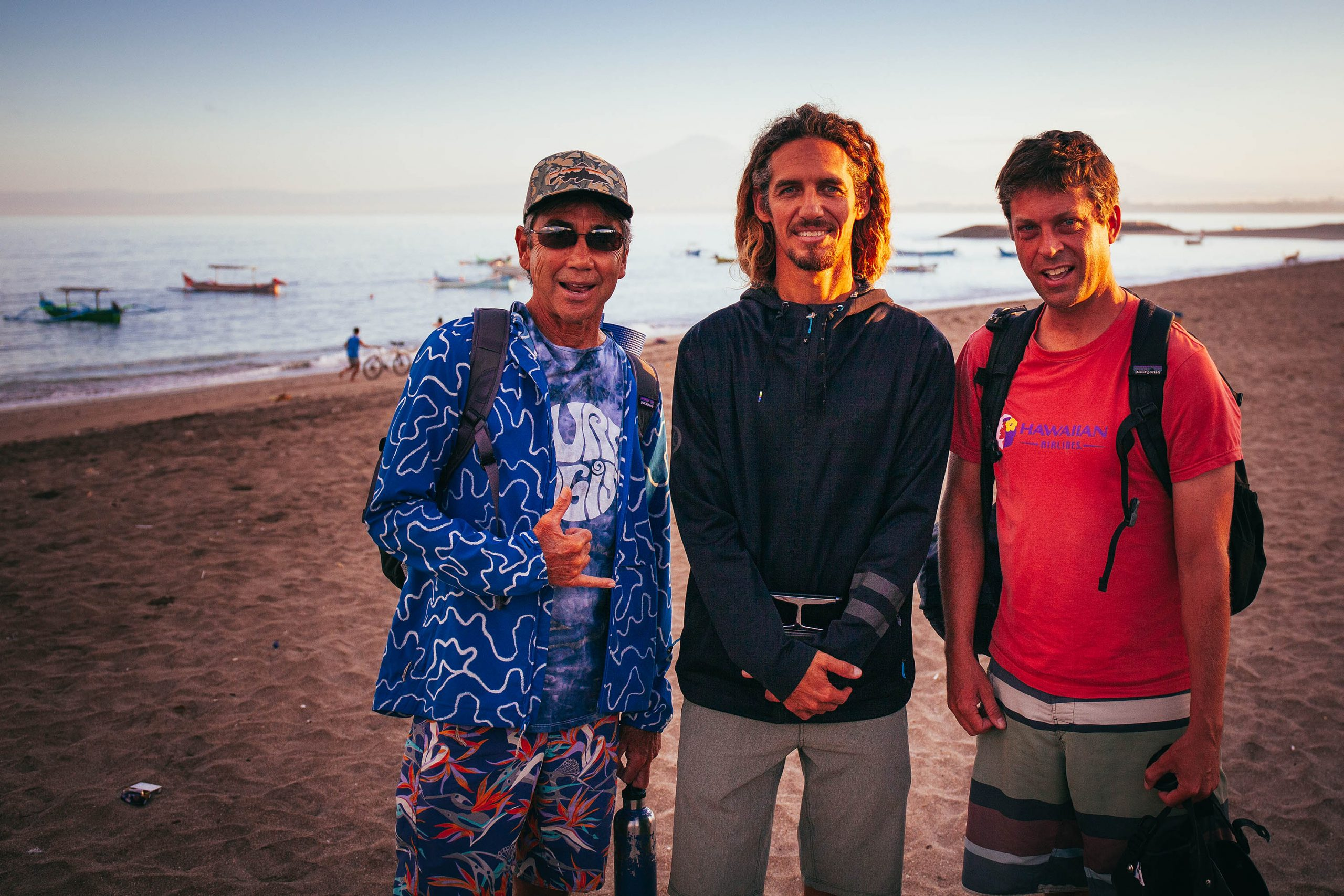 On assignment in Bali with Gerry Lopez and Rob Machado | Photo by Tim Russo